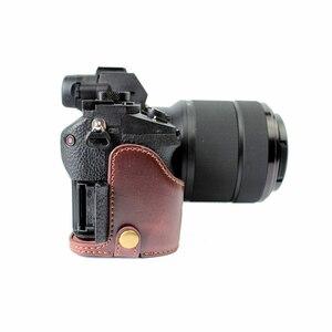 Image 5 - Capa de couro pu meio corpo para câmera, proteção para sony a7rm2 a7ii a7rii a72 a7r2 › a7sii a7m2 a7 markii com abertura da bateria