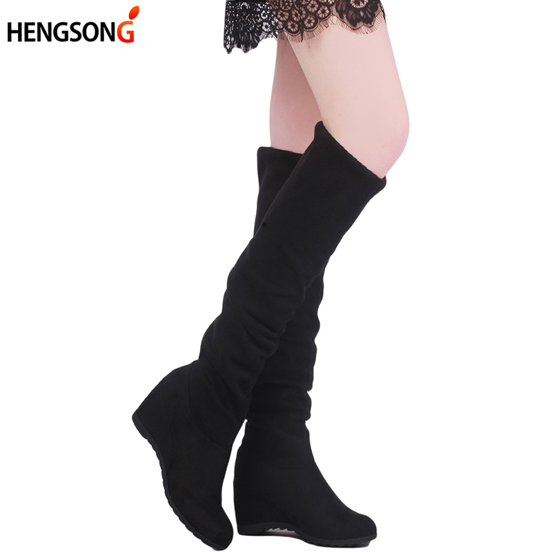 Women Boots 2017 Autumn Winter Ladies Fashion Flat Bottom Boots Shoes Over The Knee Thigh High Suede Long Boots PA875876