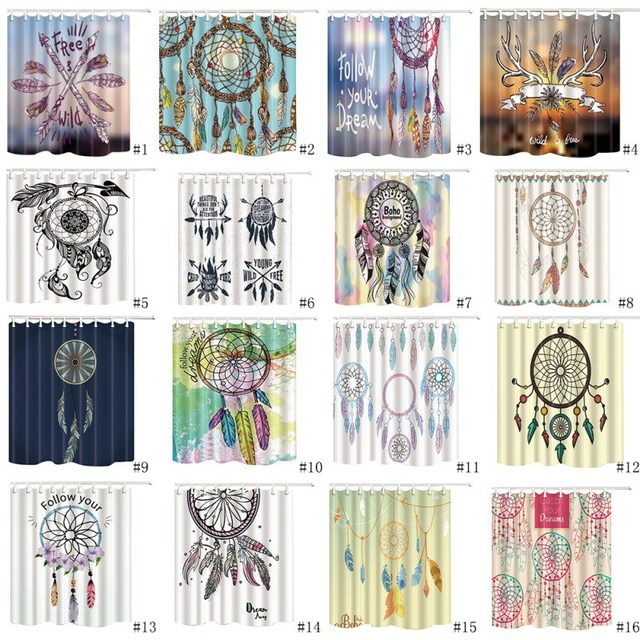 Dreamcatcher Shower Curtain Waterproof Polyester For The Bathroom Decoration With 12pcs Hooks