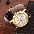 watch man womenCool Design Hollow Out Transparent Dial PU Leather Wrist Watch Gift Newworldwise hot sale