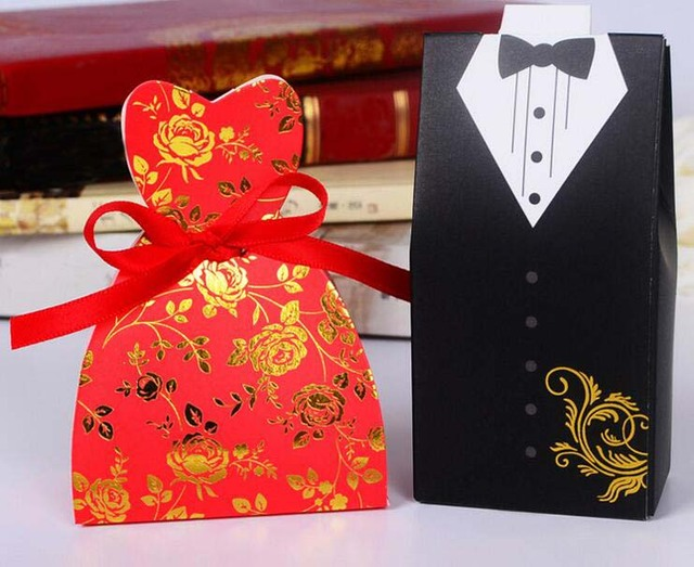 Red rose black suit dress candy chocolate gift box for wedding red rose black suit dress candy chocolate gift box for wedding birthday tea party favor decoration negle Image collections