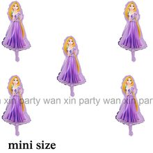 10pcs mini size Rapunzel princess foil balloons for girl toys inflateble air purple rapunzel balloon for birthday party balloons(China)