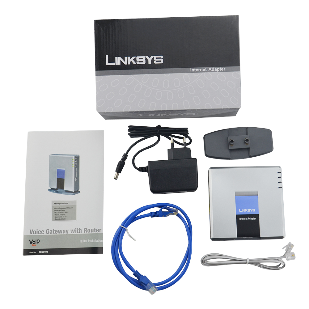 Envío Gratis! desbloqueado LINKSYS SPA3102 VOIP adaptador de internet 1FXO 1 FXS de Voz sobre IP con llamadas a servicio de VoIP