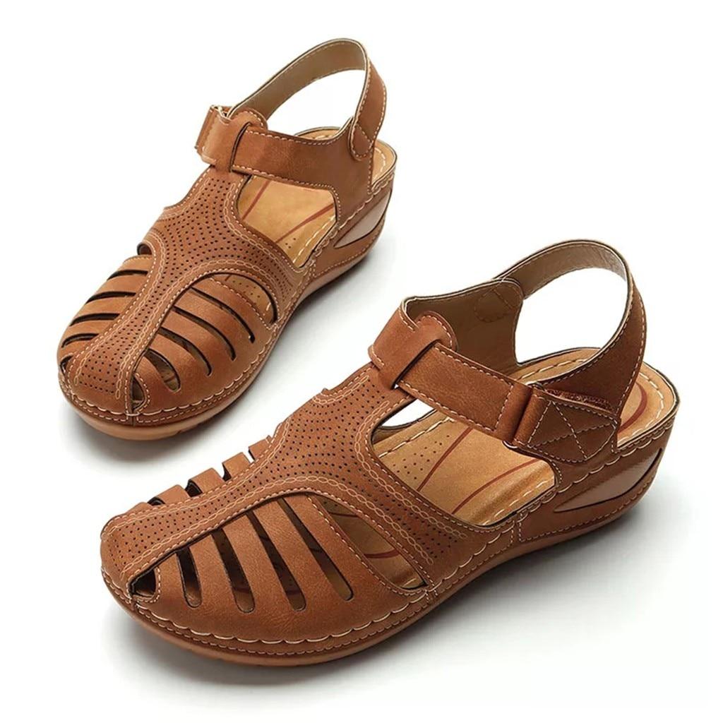 Women's Sandals Shoes Ladies Girls Comfortable Ankle Hollow Round Toe Sandals Soft Sole Shoes Fashion Large Size Sandals Shoes