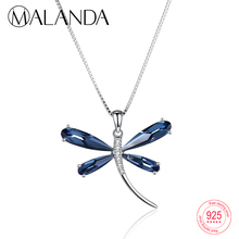 MALANDA 925 Sterling Silver Heart Crystal From Swarovski Blue Dragonfly Pendants  Necklaces For Women Statement Necklaces Jewelry e8b5dae7ddbe