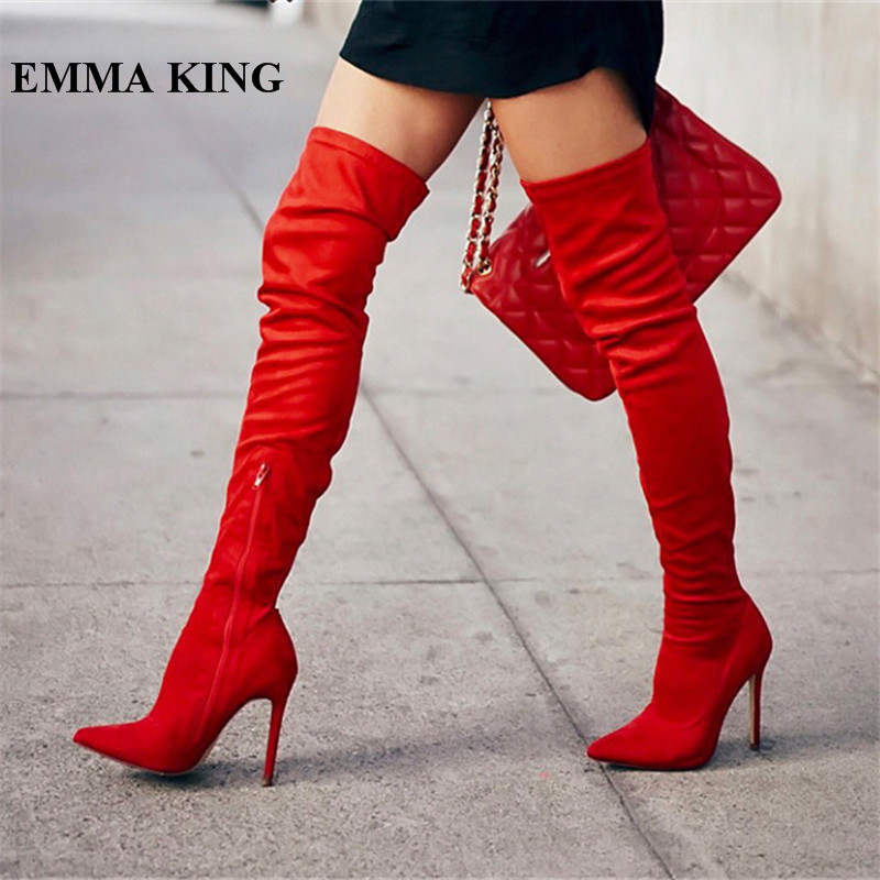 EMMA KING Botas Mujer Invierno Sexy rouge daim cuir bout pointu sur le genou bottes Stiletto Zipper Banquet cuissardesEMMA KING Botas Mujer Invierno Sexy rouge daim cuir bout pointu sur le genou bottes Stiletto Zipper Banquet cuissardes