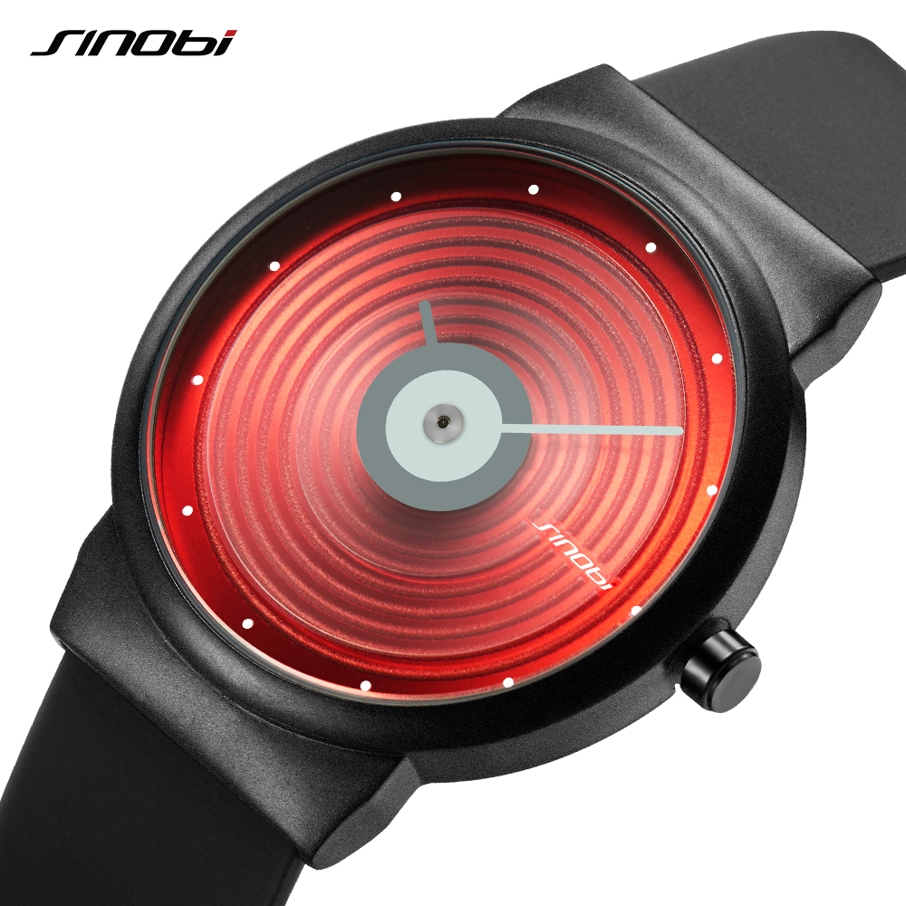 Sinobi Creative Design CD Face Men's Watch Sports Watches Man Quartz WristWatches Rubber Strap Erkek Clock Relogio Masculino