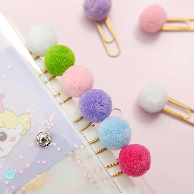3/2/1pc cute Hairball rose gold paper clip modelling Paper clips Fashion business office lady style School Office stationery set