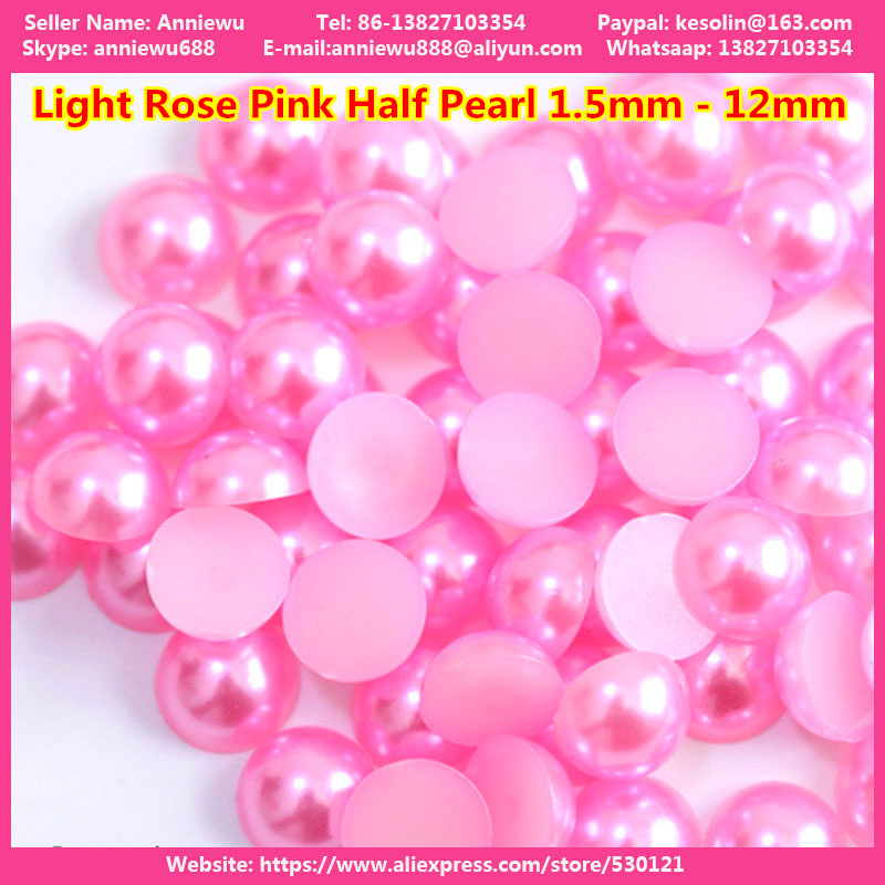 LIGHT PINK CRAFT 3mm HALF ROUND RESIN *PEARL BEADS* FOR NAIL ART