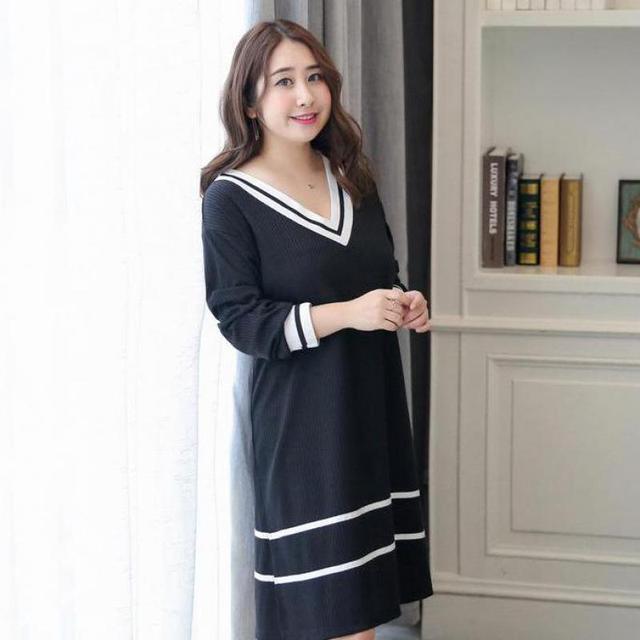 d3f9638374 Sexy Black Women Cotton Nightdress Solid Casual Sleepwear Stripe Nightwear  Long Sleeve Home Dress New Plus