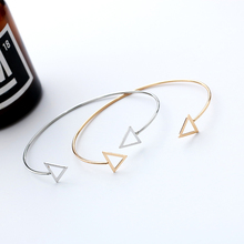 HUMANO FINO Trendy Simple Hollow Triangle 2 Colors Adjustable Opening Bracelets Bangles Gold Silver Girl Gifts For Women Jewelry