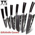 <font><b>XYj</b></font> нож из нержавеющей стали кухонные ножи Фрукты Утилита сантоку нарезки шеф-повара Дамаск вен цвет деревянной ручкой стальной нож набор