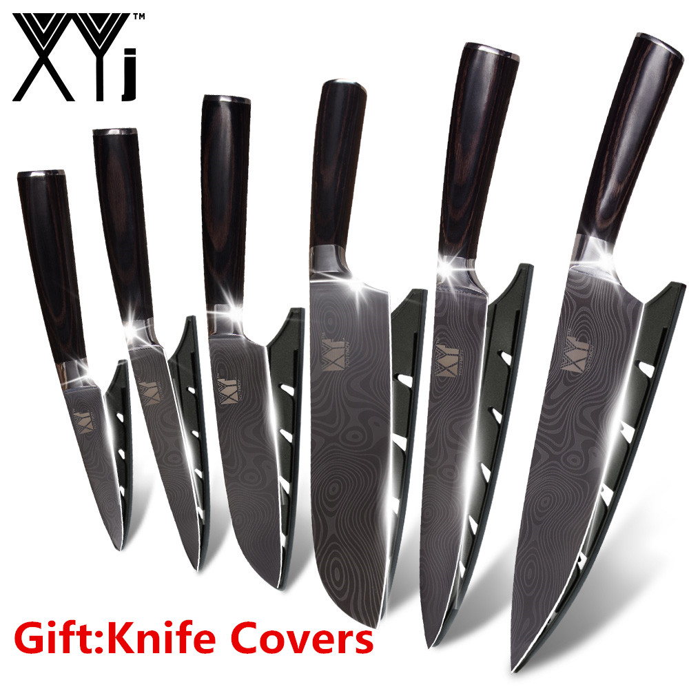 XYj Stainless Steel Knife Kitchen Knives Fruit Utility Santoku Slicing Chef Damascus Veins Color Wood Handle Steel Knife Set-in Knife Sets from Home & Garden    1