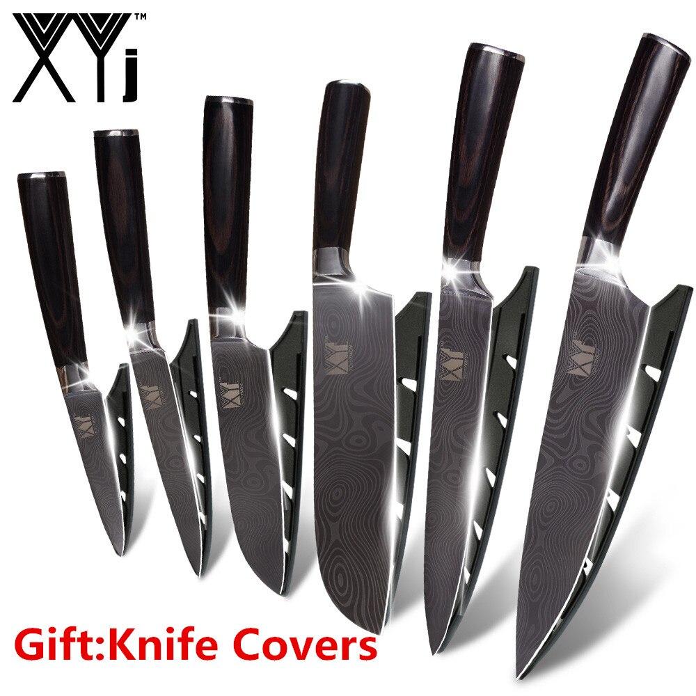 XYj couteau en acier inoxydable couteaux de cuisine fruits utilitaire Santoku tranchage Chef damas veines couleur bois poignée en acier couteau ensemble