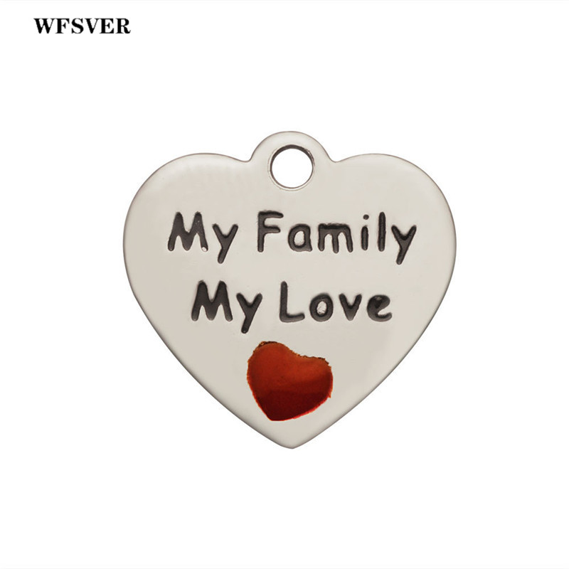 WFSVER 5pcs/lot 15*16mm stainless steel charms heart shape letter my family love pendant accessories for diy jewelry making