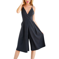 ISHINE Sexy Belted V Neck Solid Jumpsuits 2017 Summer New Fashion Backless Overalls Women Loose Wide
