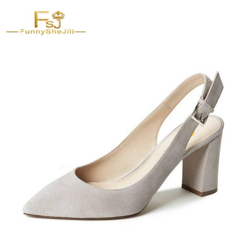 Gris Talons Clair Printemps Fsj01 Pompes Dames Shoes11 Femmes 13 Chunky Taille Suede 12 Déplacements Chaussures Fsj 2108 Automne Slingback Grande qXA70wx