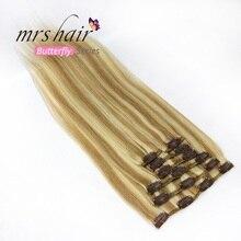 """MRS HAIR на заколках для наращивания волос 1"""" 16"""" 1"""" 20"""" 2"""" 24"""" машинное производство Remy человеческих волос на зажимах черный коричневый блонд натуральные волосы"""