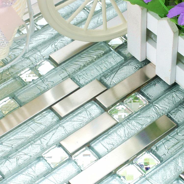 Weiß Edelstahl Glas Mosaik Fliesen HMGM1083H Backsplash Diamant Glasmosaik  Küche Wandfliese Kostenloser Versand