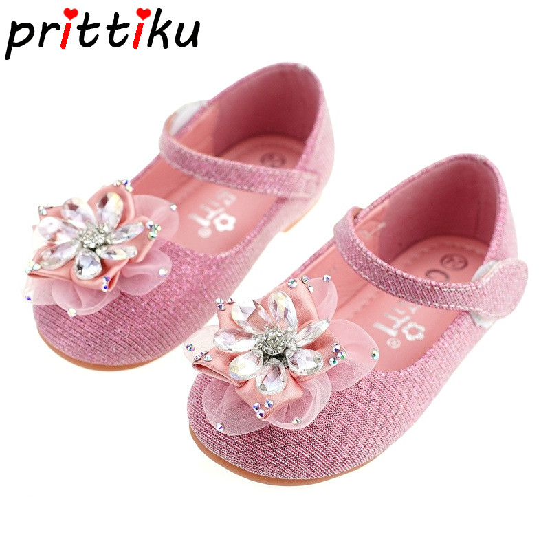 Spring 2018 Baby Toddler Girl Crystal Rhinestone Lace Flower Flats Little Kid Mary Jane Casual Loafers Children Party Dress Shoe