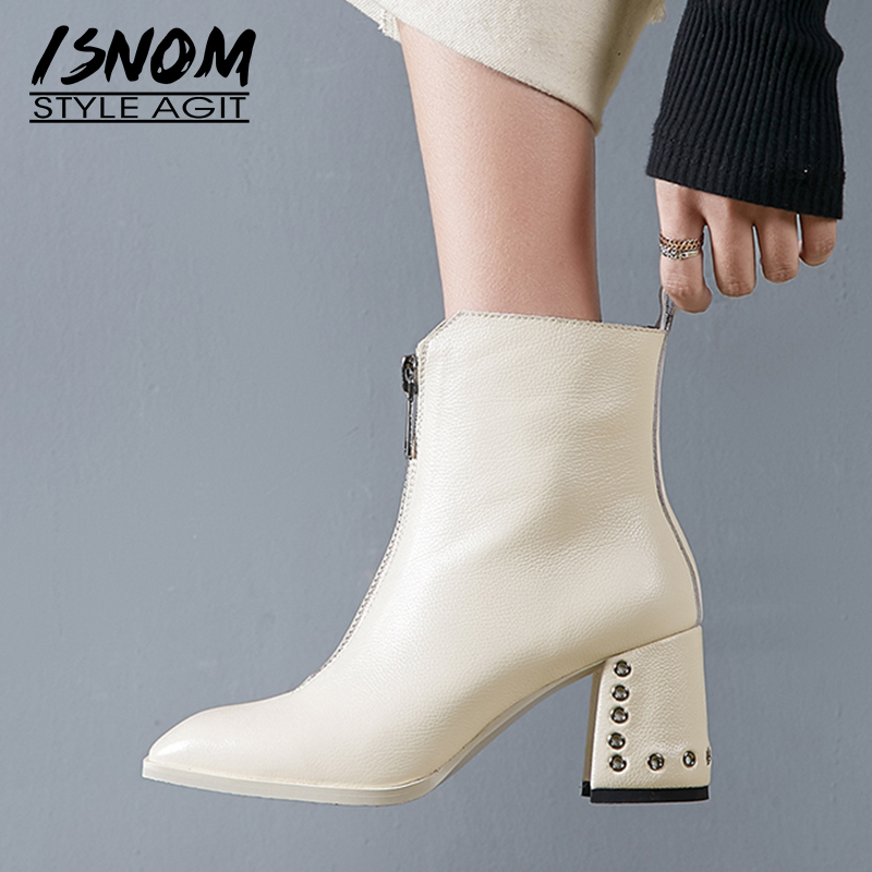 ISNOM Thick High Heels Women Ankle Boots Square Toe Rivet Footwear Zip Female Boot Genuine Leather