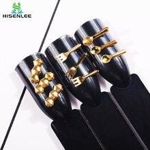 500pcs/bag Fork/Spoon Shape Nails makeup Golden 3D Manicure Rivet Metal Thin  Slice Accessories For DIY