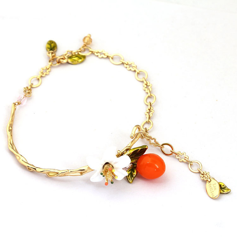 2018 New Handmade Enamel White Flowers Orange Leaf Bracelets Summer Womens Jewelry Accessories Valentines Day Gifts