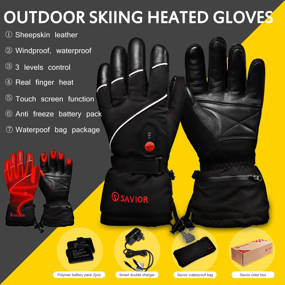 SAVIOR Heat SHGS15 winter battery Electric Heating ski Gloves Winter Skiing fishing golf 3 levels leather gloves men women DHL