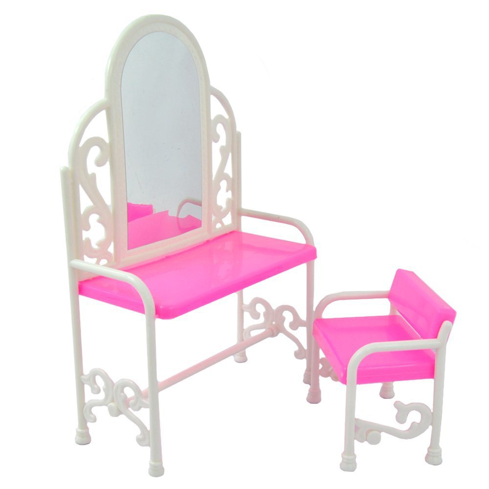 table and chair set for barbies dolls bedroom plastic drsser furniture