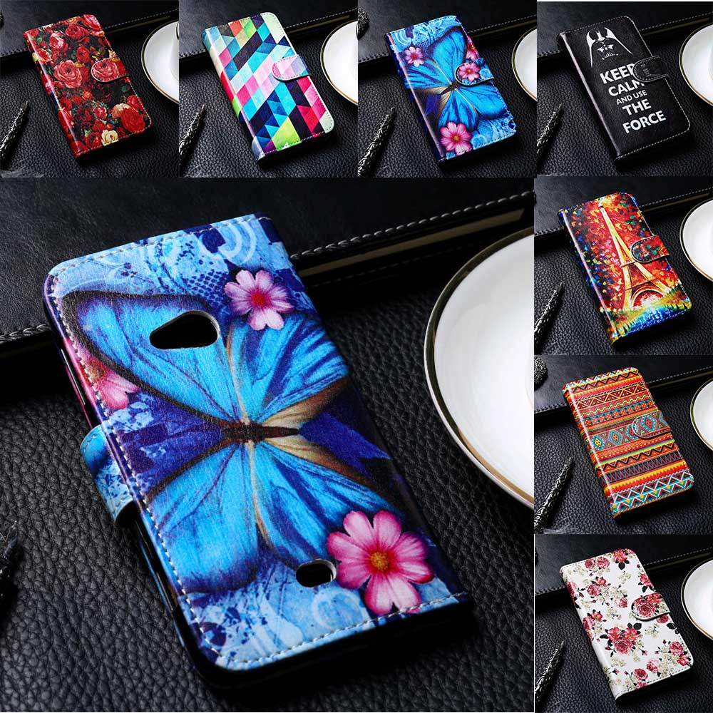 Flip PU Leather Phone Cover For Nokia Lumia 225 430 435 520 530 535 610 625