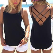6812b735088 2018 Summer Sexy Spaghetti Strap Tank Top Plus Size Women Sexy Backless Camisole  Top Female Casual