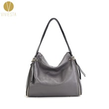 ae69a38216 FULL GRAIN LEATHER ZIPPER HOBO - Women s Genuine Real Cowhide Cow Soft  Leather Top Quality Large