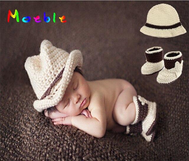 Crochet Color Beige bebé sombrero de vaquero y Botties recién nacido ...