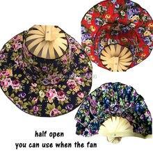 1 unid ventilador plegable nuevo llega mano Ventiladores Cap viajar verano  mujeres chica sombrero ventilador de bambú ventilador. eb9292b0dbd