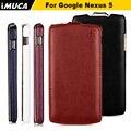 Google nexus 5 imuca leather flip case para lg google nexus 5 d820 d821 vertical flip case capa de proteção com pacote de varejo