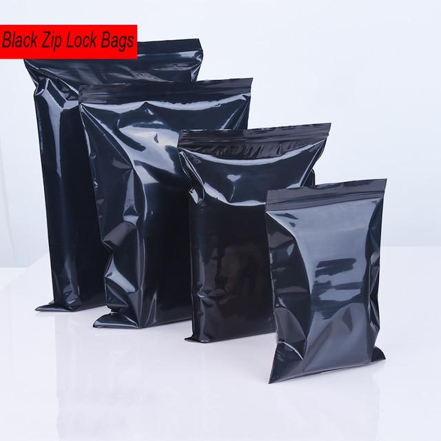 100 pçs/lote Cor Preta Auto Vedação Sacos De Plástico, sacos ziplock poly zipper sacos zip lock sacos de armazenamento frete grátis