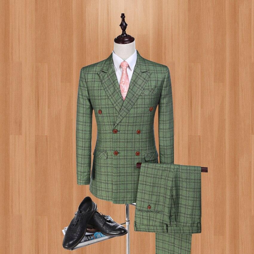 e5ce9881c0d4d Veste + pantalon + gilet Damier Vérifier Blazer pour Smokings de Marié Rouge-Vert  Veste Groomsman ...