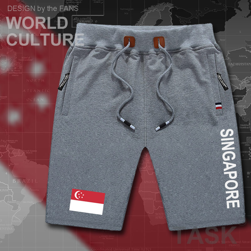 Singapore Mens Shorts Beach New Men's Board Shorts Flag Workout Zipper Pocket Sweat Bodybuilding 2017 Cotton Singaporean  SG