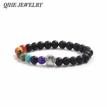 QIHE biżuteria bransoletki z koralików kamiennych łapa z nadrukiem z psem urok Laca kamień matowy kamień wielokolorowy bransoletka z paciorkami pies łapa kota biżuteria