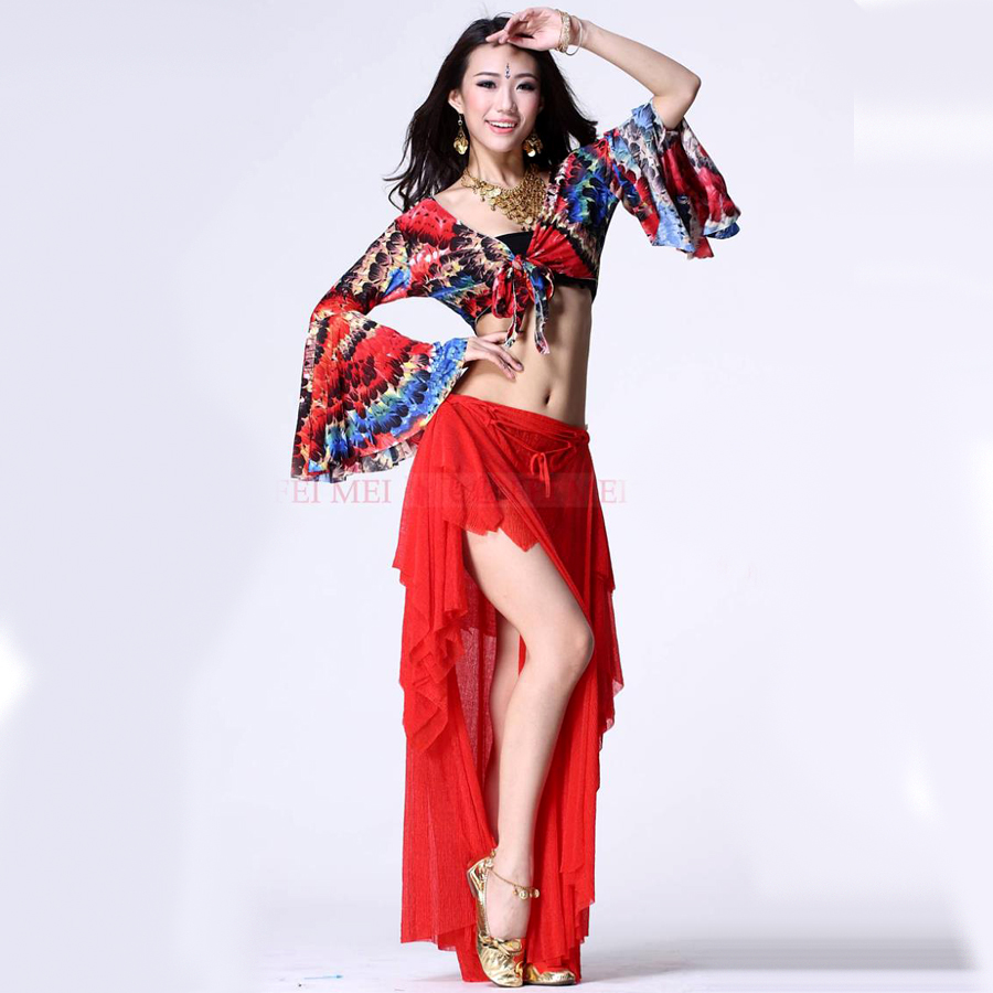 2017 new plus size belly dancing costumes 2piece(top+dress) belly