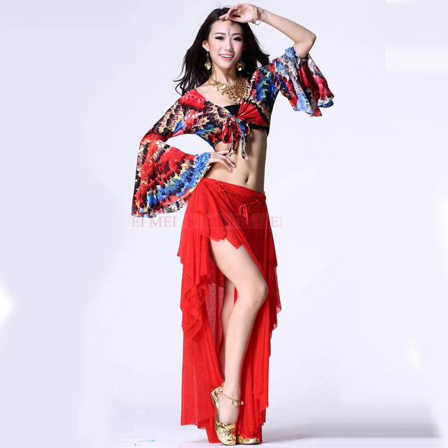 US $40 0 |2018 New Plus Size Belly Dancing Costumes 2piece(Top+Dress) Belly  Dance Costumes For Women Red Long Sleeve Egyptian Costume-in Belly Dancing