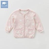 DBK0786 Dave Bella Autumn Kids Girls 100 Cotton Knitted Sweater Children Stars Printing Cardigan Tops