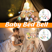 Baby Crib Bed Bell Toy 0 12 Months Mobile Musical Bed Bell With Animal Rattles Projection Cartoon Early Learning Kids Toy
