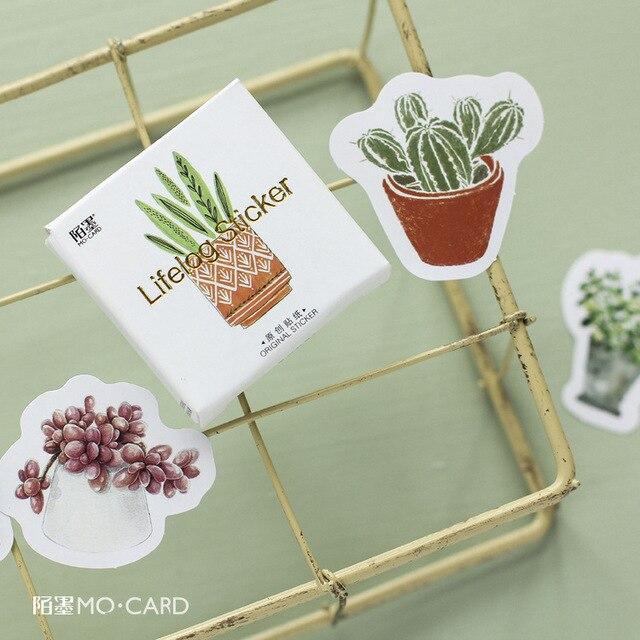 45 unids/lote Cactus pintura Mini etiqueta engomada de papel de decoración DIY tu álbum diario Scrapbooking bala revista pegatinas