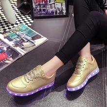 2016 Femmes Coloré rougeoyant chaussures avec des lumières up led lumineux chaussures nouvelle simulation semelle taille 35 ~ 44 pour adultes néon casual chaussures