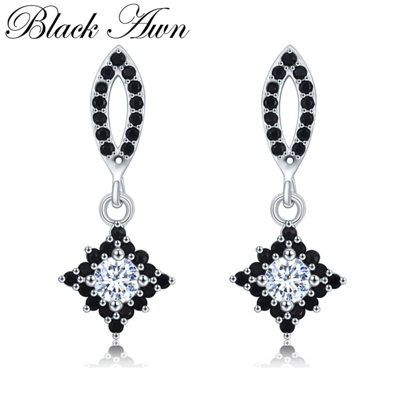 [BLACK AWN] Pure Sterling Silver 925 Jewelry Wedding Drop Earrings For Women Boucle D'oreille T209
