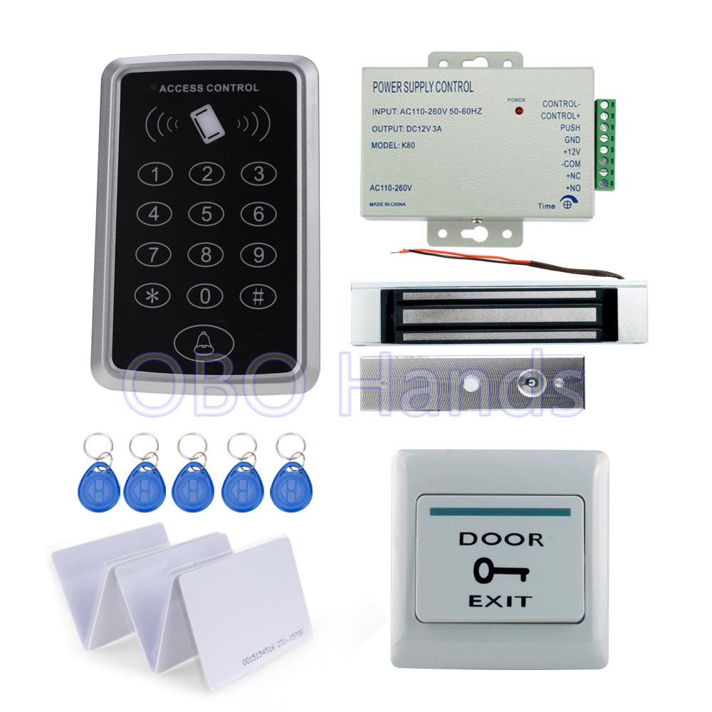 Full complete kit for door access control system T11 card reader+180KG magnetic lock+power supply+exit button+10pcs ID key cards rfid door access control system kit set with electric lock power supply doorbell door exit button 10 keys id card reader keypad