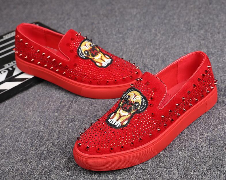 Mode En Causal Pour Rouge Chaussures Broderie 1 Antidérapant Caoutchouc Noir Conduite Homme Strass Hommes Rivet Fond Plates 2 Mocassins qr46qw
