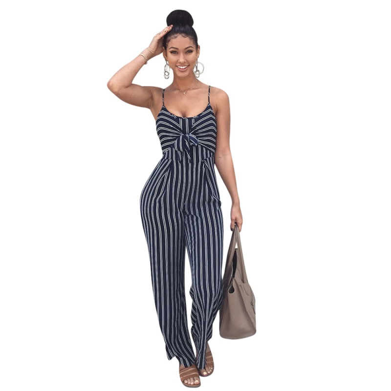 Hot 2020 Blue Bodycon Backless Stripe Jumpsuits Women Sexy Party Clubwear Jumpsuits Casual Bowtie Overalls Jumpsuit