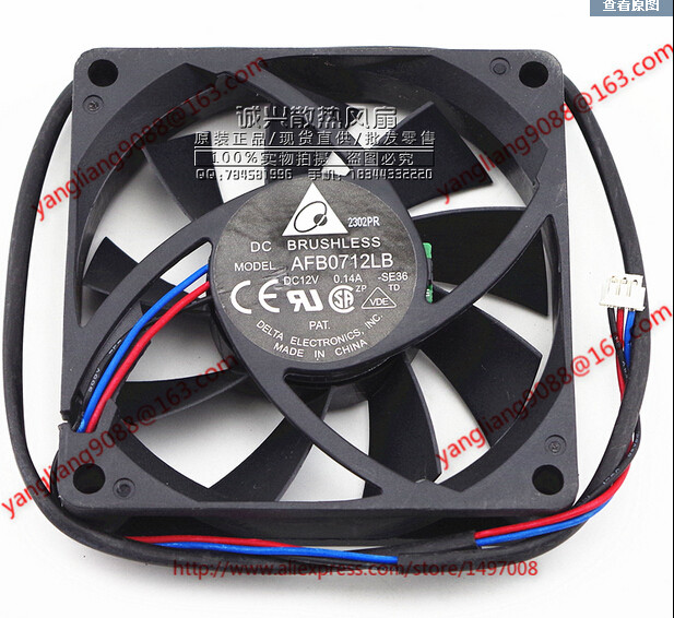 Free Shipping For  DELTA AFB0712LB, SE36 DC 12V 0.14A, 70x70x15mm 50mm, 3-wire 3-pin connector Server Square Cooling Fan delta 12038 12v cooling fan afb1212ehe afb1212he afb1212hhe afb1212le afb1212she afb1212vhe afb1212me